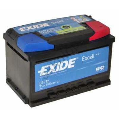 EXIDE Excell 71 Ah jobb+ EB712 akkumulátor