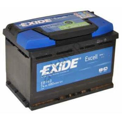 EXIDE Excell 74 Ah jobb+ EB740 akkumulátor