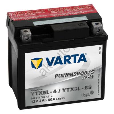 Varta Powersports AGM 4 Ah YTX5L-BS