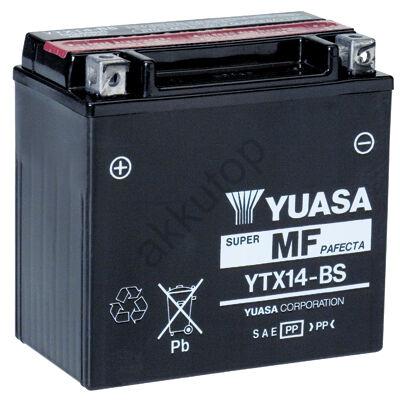 YUASA 12V 12 Ah YTX14-BS bal+ AGM akkumulátor
