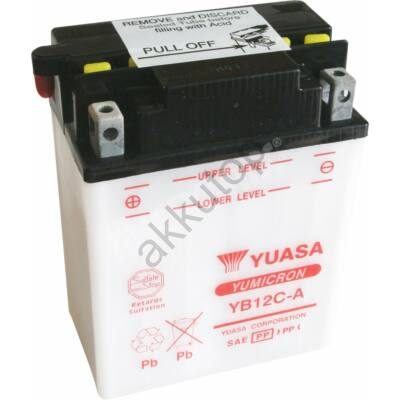YUASA 12V 12 Ah YB12C-A bal+ akkumulátor