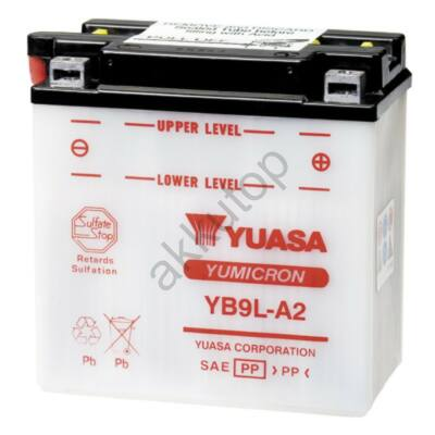 YUASA 12V 9 Ah YB9L-A2 jobb+ akkumulátor